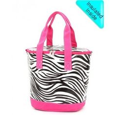 Zebra with Pink Shoulder Cooler Bag - If you want initials, type in order to APPEAR. Monogram will appear on solid colored fabric where handles are.