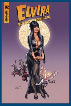 """lobocomicsandtoys:"""" ELVIRA MISTRESS OF DARK Written by David AvalloneArt by Dave AcostaCover art by Joseph Michael LinsnerNevermore! The Mistress of the Dark time-travels to 1838 Philadelphia for a black-cat-and-mouse game between America's. Cassandra Peterson, Elvira Movies, Online Comic Books, Horror Show, Halloween Art, Halloween Horror, Halloween Witches, Comic Book Covers, Mistress"""