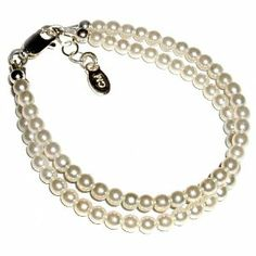 "Sterling Silver Children's Baby Bracelet for Infant Double-strand Czech Pearls in Gift Box, 0-12 months (4 - 4.5"" adjustable) Tiny Treasures. $27.00"