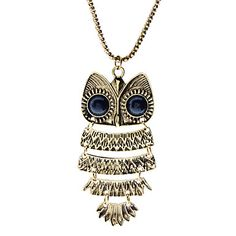 forma coruja colar de bronze antigo / camisola longa cadeia – BRL R$ 12,90