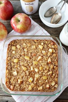 Baked Peanut Butter Apple Oatmeal Recipe on This easy baked oatmeal is the perfect breakfast treat! It is healthy and delicious! Healthy Breakfast Recipes, Healthy Baking, Healthy Snacks, Healthy Recipes, Healthy Protein, Protein Snacks, Healthy Breakfasts, Vegan Breakfast, Apple Recipes