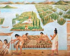 The Aztec civilization painting. The Aztec Empire was large in the pre-Columbian days, but then conquered by Cortes.