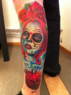 Tatouage Jambe Crâne Mexicain par No Remors Tattoo