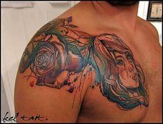 rose on shoulder by Kel Tait | tattoo artist – Melbourne, Australia