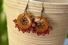 Martinuska / S kvietkom/cork earrings