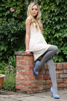 Grey wool tights with light blue heels and white... » Pantyhose Party - Tights & Leggings