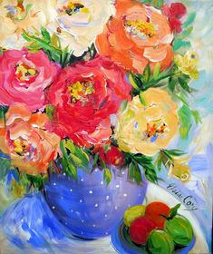 Polka Dot Vase is an original painting 20 x by ElainesHeartsong