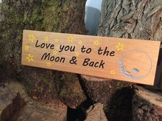 Love You To The Moon and Back  Cherry Wood Engraved sign