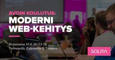 Tervetuloa avoimeen Moderni web-kehitys -koulutukseemme 10.6.16 Tampereelle päivittämään osaamistasi moderniin Java & JavaScript -web stackiin.