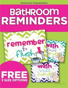 FREE!  Bathroom Reminders from KindergartenWorks on TeachersNotebook.com -  (5 pages)  - Reminders for students to flush and wash! Perfect for any primary classroom.
