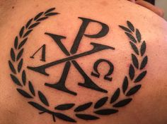 Jesus Christ Alpha and Omega.. Chi Rho tattoo... Would go great in the center of a shoulder armor piece!