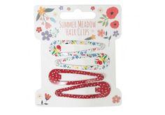 Set de 4 barrettes enfant Summer meadow.Un joli accessoire pour attacher les mèches rebelles ou tout simplement être coquette.2 barrettes motif fleur, 2 barrettes rouges à petits pois blancsLongueur : 5 cm