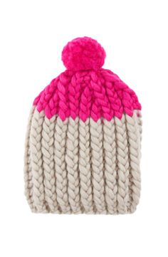 This hand-knit wool beanie makes a shocking pink statement. You can't go wrong with a pom pom.
