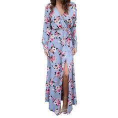 b63fe182391 Floral Full Sleeve High Split Women Floor Length Dress Daisy Dress