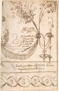 Design for Grotesque Ornament, with Fragment of Border Decoration Below attributed to Andrés de Melgar  (Spanish, documented S. Domingo de la Calzada, died after 1554)
