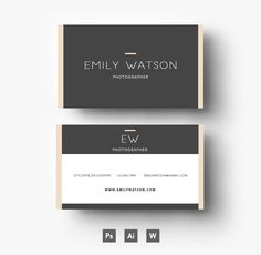 Three colour business card template by Emily's ART Boutique on Creative Market