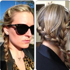 Messy side braid from both sides into one