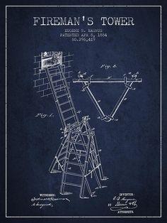 1884 Firemans Tower Patent - Navy Blue Digital Art