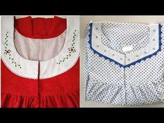 latest nighty designs Daily use cotton Nighty ideas for women. Neckline Designs, Dress Neck Designs, Blouse Designs, Night Gown Dress, Cotton Nighties, Nightgown Pattern, Kids Frocks Design, Muslim Women Fashion, Stitching Dresses