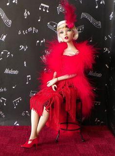 Tonner DEJA VU BJD Roaring 1920 s, Go Go Dress RED Outfit by MARTHA s Fashion!!