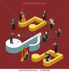 Classic instrumental orchestra concert flat 3d isometry isometric music show concert concept web vector illustration. Micro classical musician band playing on huge notes. Creative people collection.