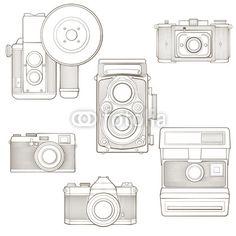 Vector: Vintage photo cameras set. Vector illustration.