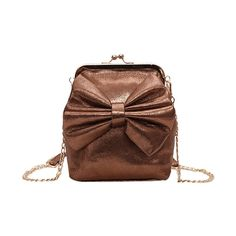 Brown Bow Chain Crossbody Bag ($11) ❤ liked on Polyvore featuring bags, handbags and shoulder bags