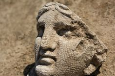 A unique Roman sanctuary discovered during excavations prior to the building of a shopping centre is currently being excavated at Pont-Sainte-Maxence (Oise) in northern France. The large shrine daties to the middle of the 2nd century AD. Many of the heads from the frieze are three times lifesize  [Credit: © Christophe Gaston/Inrap].  Archaeologists, who date the large shrine to the middle of the 2nd century AD, say the discovery was completely unexpected and has no equivalent in Roman Gaul.