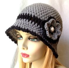 Womens Hat, Grey Flower Cloche, Black Flower, Pearl Button, Flapper Hat, Birthday Gifts, Photo Prop, JE275CF2