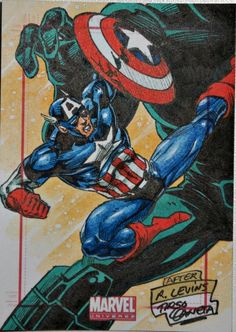 Wonderful sketch card of Captain America by artist Tirso Llaneta. I am so going to look for more art by them. Check this one out, you can own it! ~Tom