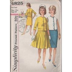 MOMSPatterns Vintage Sewing Patterns - Simplicity 4825 Vintage 60's Sewing Pattern DARLING Jackie O Mad Men Suit Dress, Jacket Top Blouse, Slim Sheath or Kilt Knife Pleats Skirt