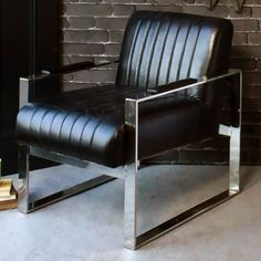 Tourino Black Leather Armchair