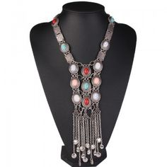 Beads decorated tassels Bohemian necklace