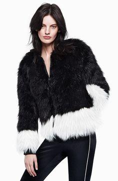 Long black jacket white mesh top black &amp white jogging style