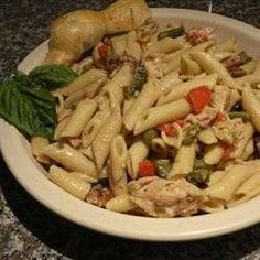 Penne pasta tossed with asparagus, red peppers, pecans, and parmesan cheese in a delicious sauce that is creamy without being over-powering. this has been a tremendous hit every time i've made it.