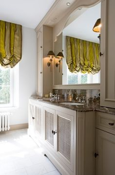 If you are like me and you love to spend some time in your bathroom, then I might think you will enjoy my post of today. There are so many beautiful bathrooms. Cupboard Storage, Cabinet Styles, Luxury Bath, Beautiful Bathrooms, Decoration, Home Projects, Window Treatments, New Homes, Interior Design