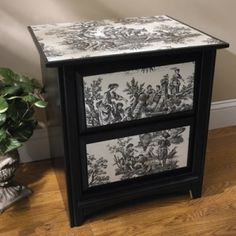 Black White Toile Decoupage Side Table