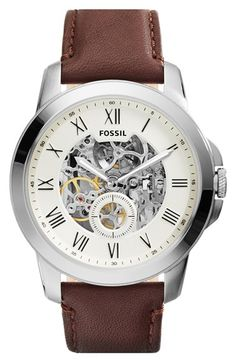 Free shipping and returns on Fossil 'Grant' Automatic Leather Strap Watch, 44mm at Nordstrom.com. A fine automatic watch with Roman-numeral indexes features an intriguing see-through dial and rich, stitched-leather strap.