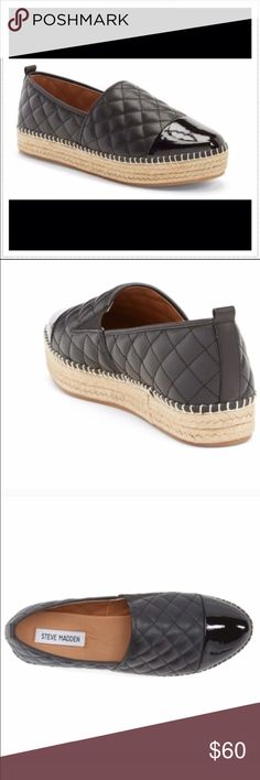 "Steve Madden Palamo platform espadrille Perfect for Fall! Brand new, never worn. Size labeled is 10 (runs a bit small- better fit for a 9.5 or larger 9). Quilted faux leather with a contrasting cap toe. Synthetic upper, lining, & sole. Approx 1"" jute platform. Bundle to save! NO TRADES, no modeling. REASONABLE offers welcome via offer button. Steve Madden Shoes Flats & Loafers"