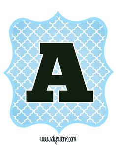 Blue And Black Printable Letters For Banners  Black Letter