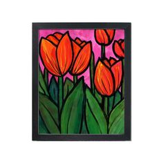 Tulip Art Print - Red Magenta Green Floral Wall Art Decor - Vibrant Flower Giclee with Optional Black Mat by Claudine Intner Black Background Painting, Original Art, Original Paintings, Tulip Painting, Red Tulips, Floral Wall Art, Green Leaves, Flower Prints, Wall Art Decor