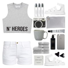 """Grey"" by pure-vnom ❤ liked on Polyvore featuring Frame, Dr. Martens, Prada, Fuji, Byredo, Native Union, Victoria's Secret, Juliska and Christy"