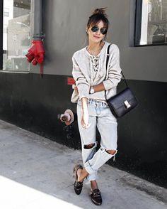 Blogger Style | Julie Sariñana (Sincerely Jules): lace-up Sweater x boyfriend Jeans x Gucci loafers x celine box bag