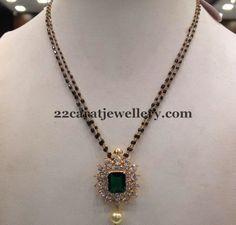 Jewellery Designs: Black Beads Set with Marvelous Locket