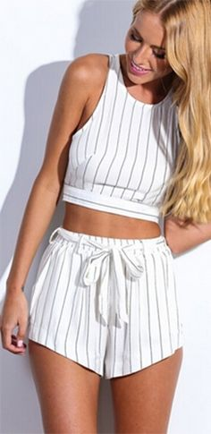 White Black Vertical Stripe Sleeveless Scoop Neck Cut Out Crop Tank Tie Waist Shorts Two Piece Romper
