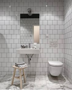 If I wouldn't know that this beautiful place was based in Sweden, I would have thought it was a New York loft. The rough industrial elements like the black glass walls, the exposed brick walls and the grey steel beams are softened … Continue reading → Bathroom Grey, Bathroom Layout, Bathroom Interior, Interior Design Living Room, Master Bathroom, Master Baths, Bad Inspiration, Bathroom Inspiration, Minimalist Small Bathrooms