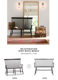 Rejuvenation High Back Bench for $899 vs Black Wood Kamron High Back Windsor Bench for $206 copycatchic luxe living for less budget home decor and design http://www.copycatchic.com/2017/02/rejuvenation-high-back-bench.html?utm_campaign=coschedule&utm_source=pinterest&utm_medium=Copy%20Cat%20Chic&utm_content=Rejuvenation%20High%20Back%20Bench