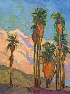 Petite 9x12 oil painting of Palm Springs California desert.