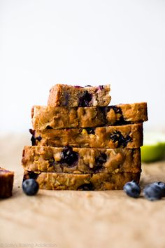 This Greek yogurt apple blueberry bread has zero refined sugar. Made with honey, apples, blueberries, and Greek yogurt, this quick bread is a simple healthy snack or breakfast!