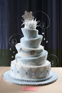 this is my entry for NY cake competition, I have covered it with sugar to make it look like ice, I have used rice paper for the top and made mold for the snowflake topper . Hope you like it , I got no Place for this but I love it !!!!!!!!!!!!!!!!!!!